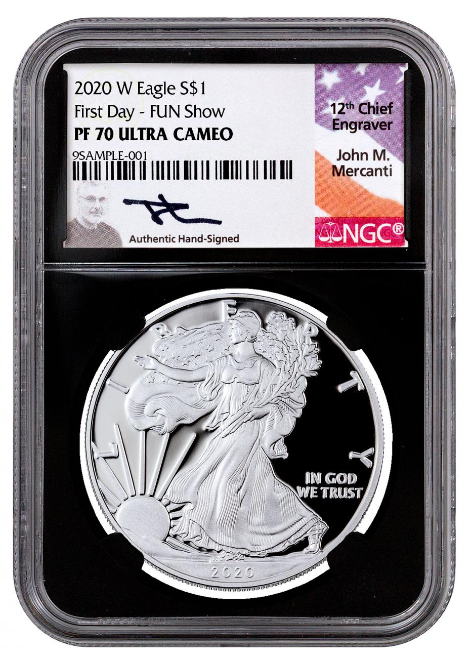 2020-W 1 oz Proof Silver American Eagle $1 Coin NGC PF70 UC First Day - Fun Show Black Core Holder Exclusive Mercanti Signed Label