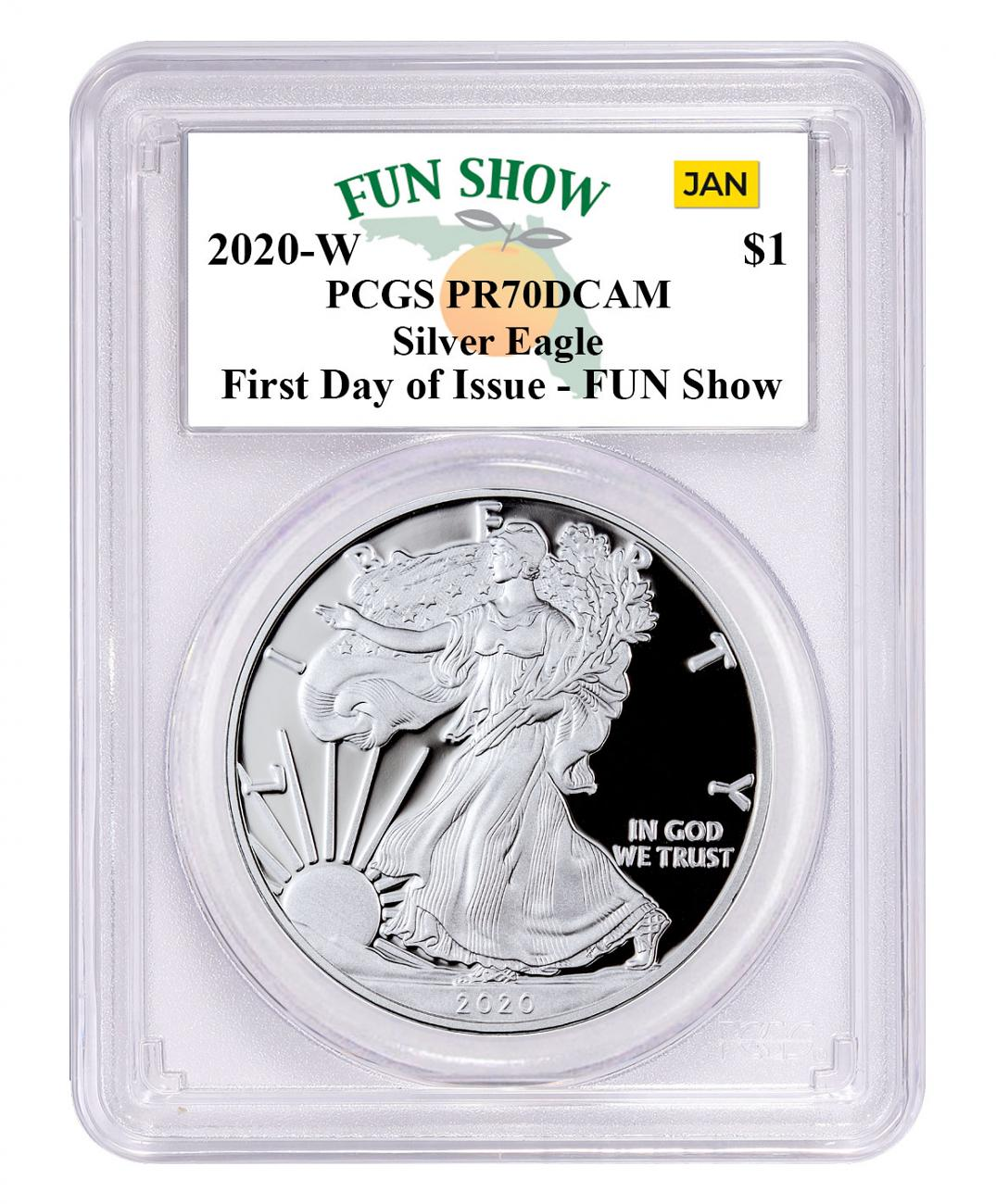 2020-W 1 oz Proof Silver American Eagle $1 Coin PCGS PR70 DCAM First Day - Fun Show