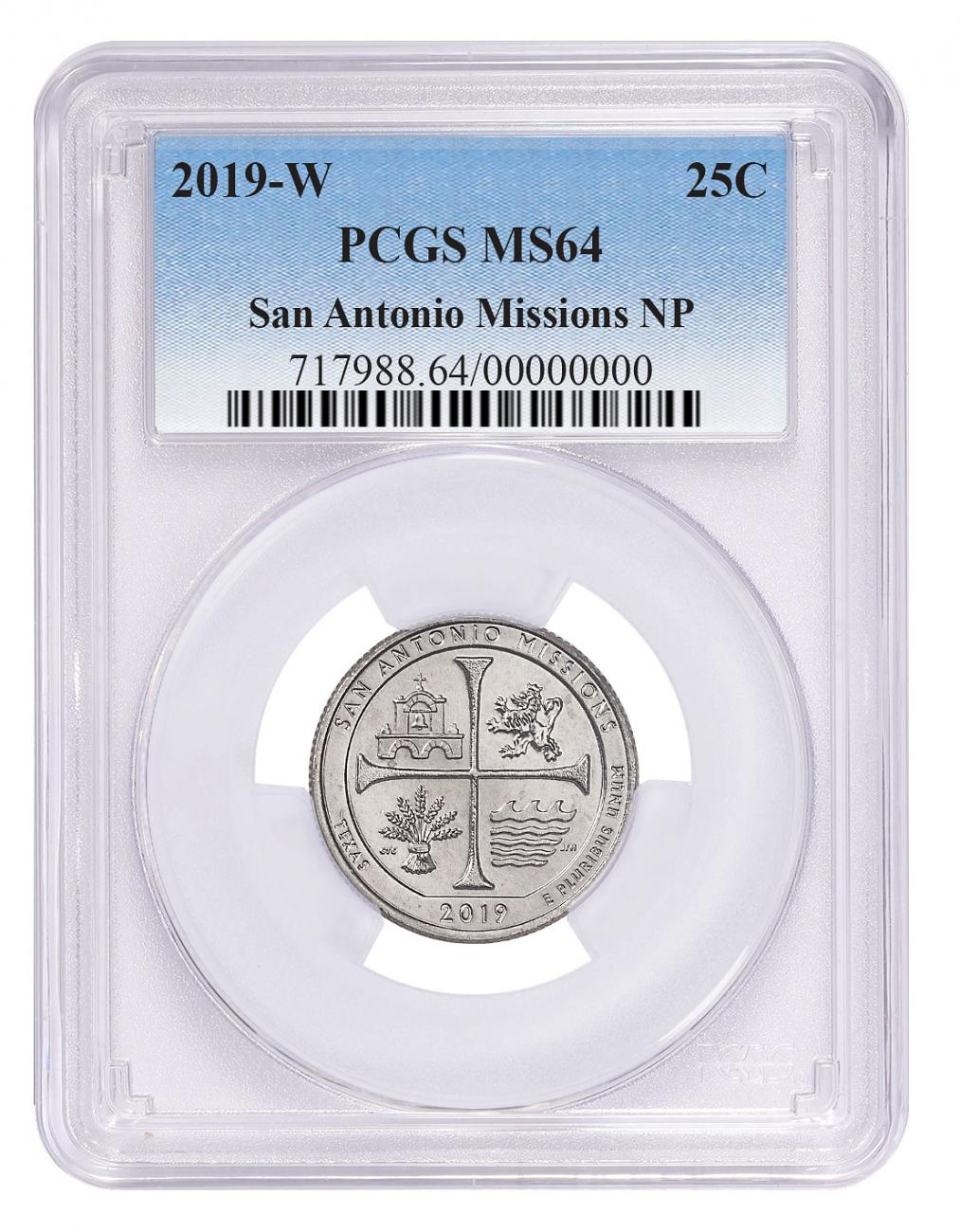 2019-W 25C Clad America the Beautiful San Antonio Missions Historical Park Quarter PCGS MS64