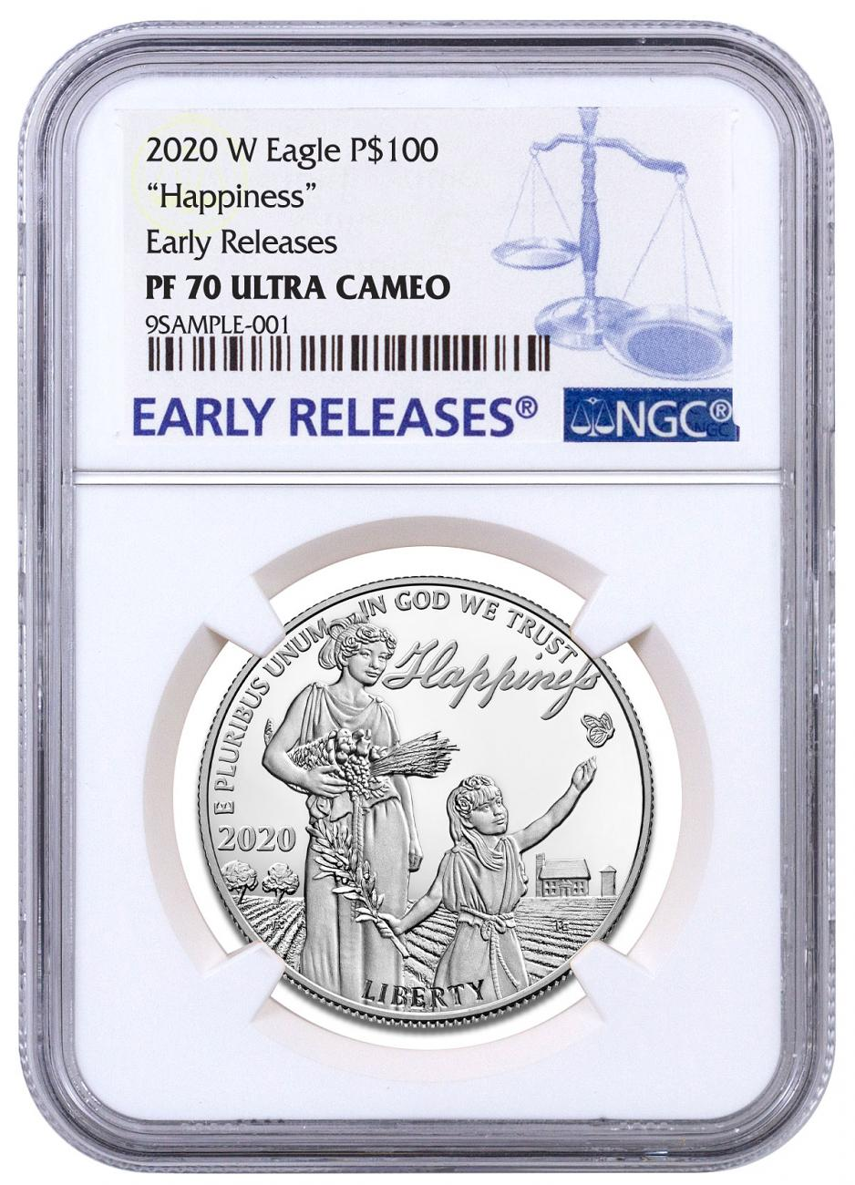 2020-W 1 oz Platinum American Eagle Pursuit of Happiness Proof $100 Coin NGC PF70 UC ER