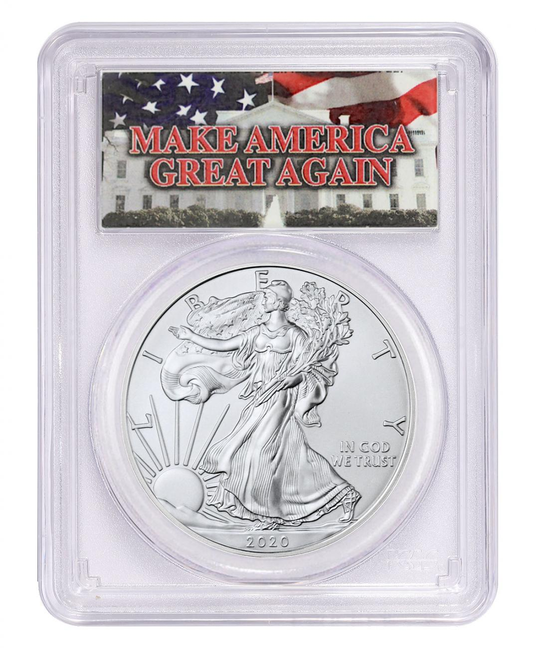 2020 1 oz American Silver Eagle $1 Coin Make America Great Again PCGS MS70 FS Trump Label