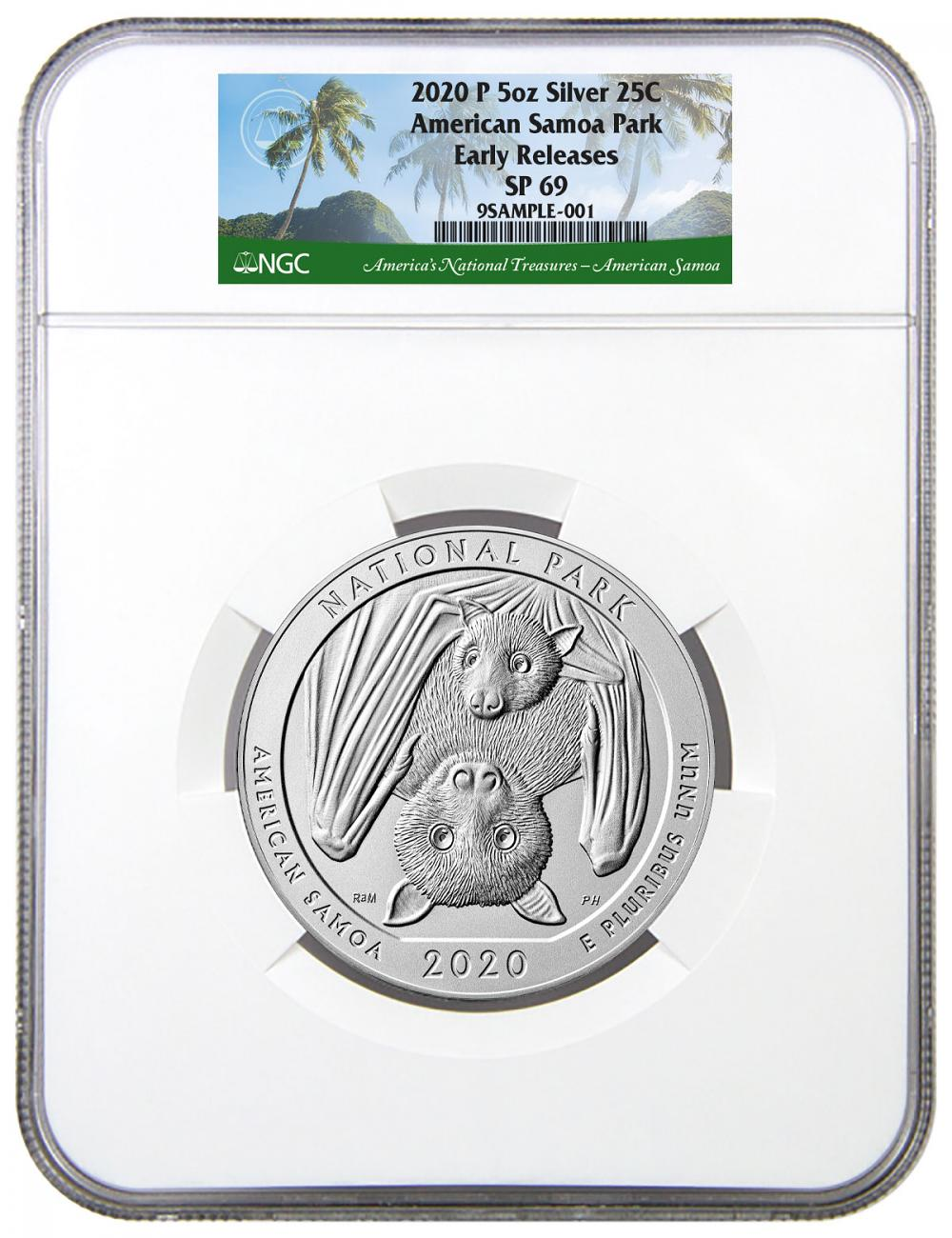 2020-P 5 oz Silver America the Beautiful American Samoa National Park Specimen 25C Coin NGC SP69 ER