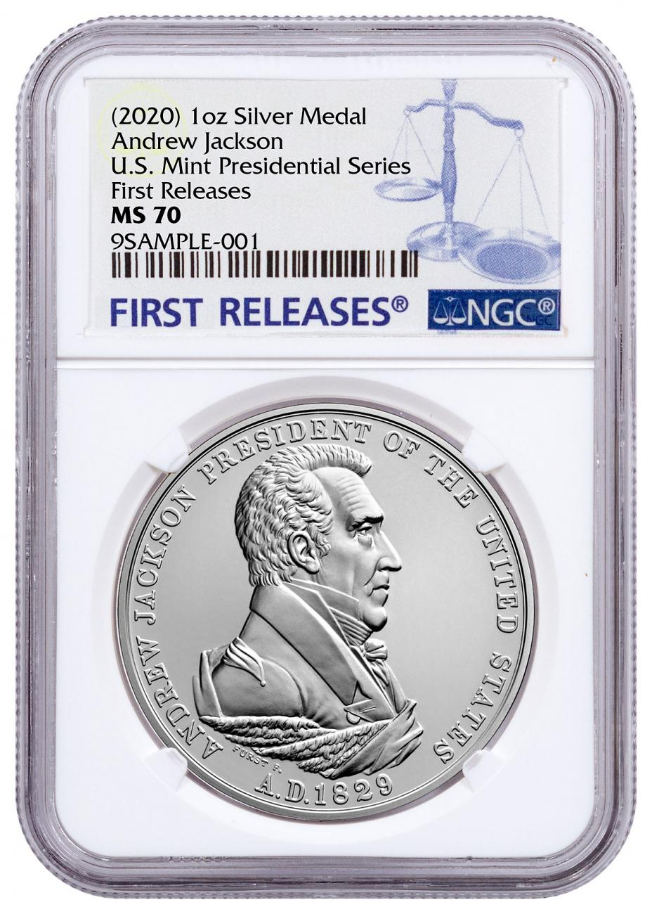 (2020) United States Presidential Medal Andrew Jackson 1 oz Silver Matte Medal NGC MS70 FR
