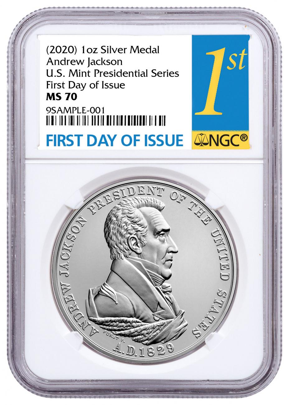 (2020) United States Presidential Medal Andrew Jackson 1 oz Silver Matte Medal NGC MS70 FDI