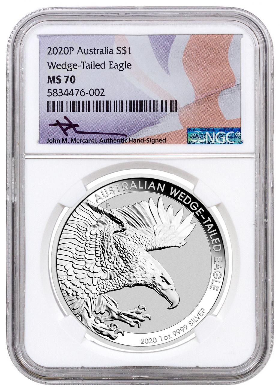 2020-P Australia 1 oz Silver Wedge-Tailed Eagle $1 Coin NGC MS70 Mercanti Signed Flag Label