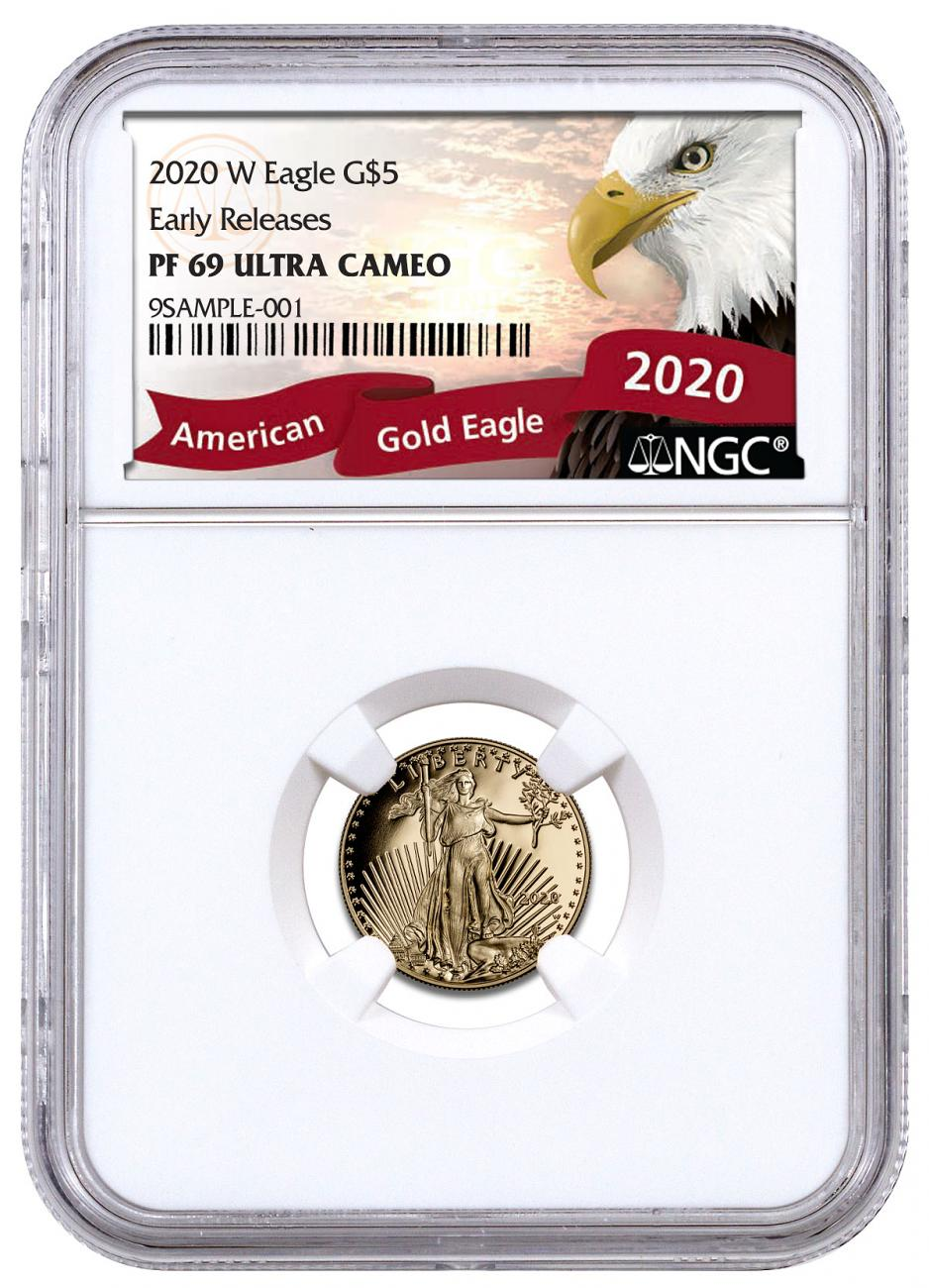 2020-W 1/10 oz Gold American Eagle Proof $5 Coin NGC PF69 UC ER Exclusive Eagle Label