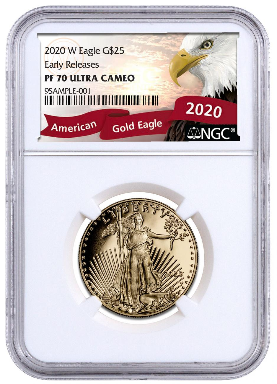 2020-W 1/2 oz Gold American Eagle Proof $25 Coin NGC PF70 UC ER Exclusive Eagle Label