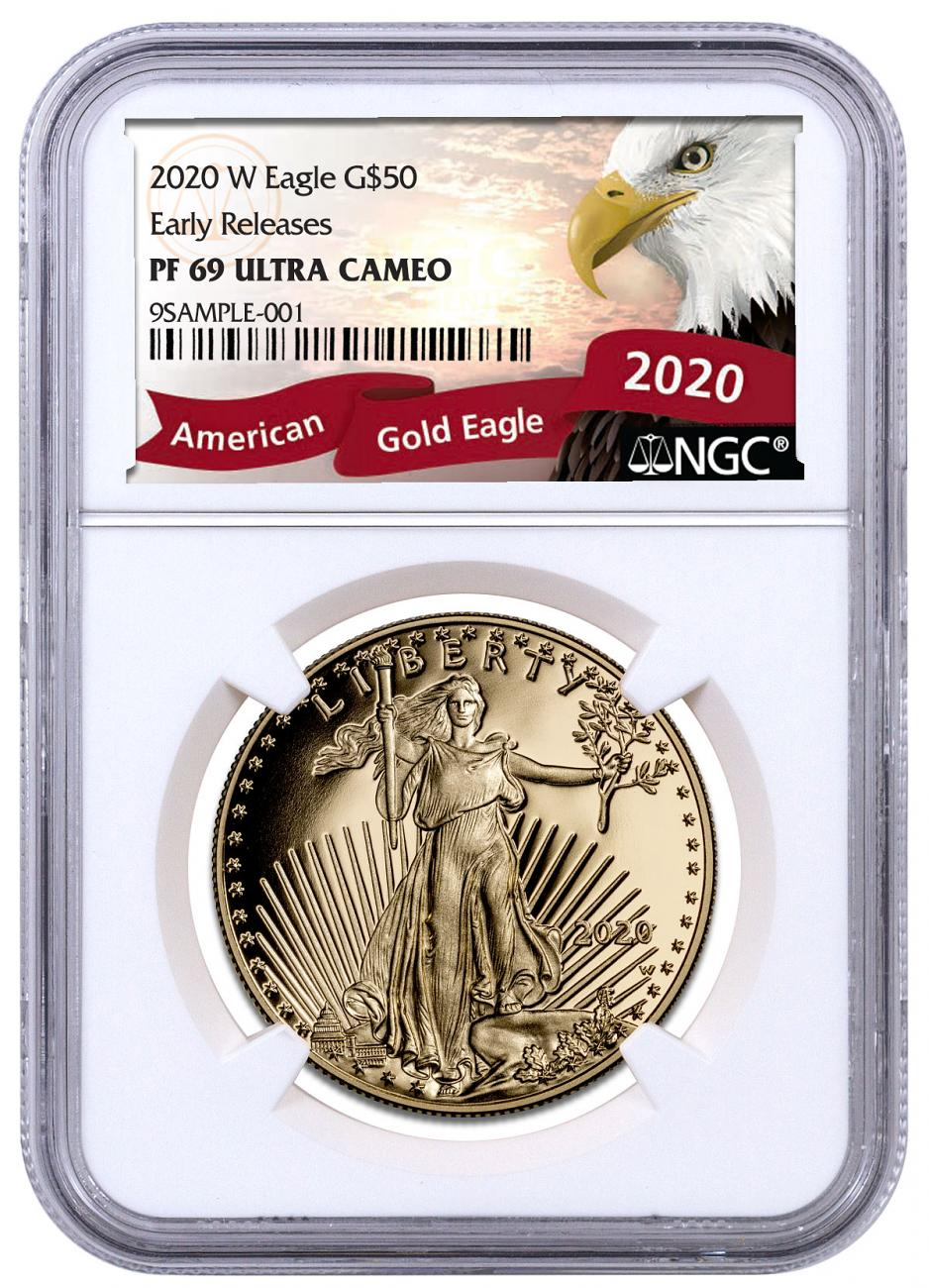 2020-W 1 oz Gold American Eagle Proof $50 Coin NGC PF69 UC ER Exclusive Eagle Label