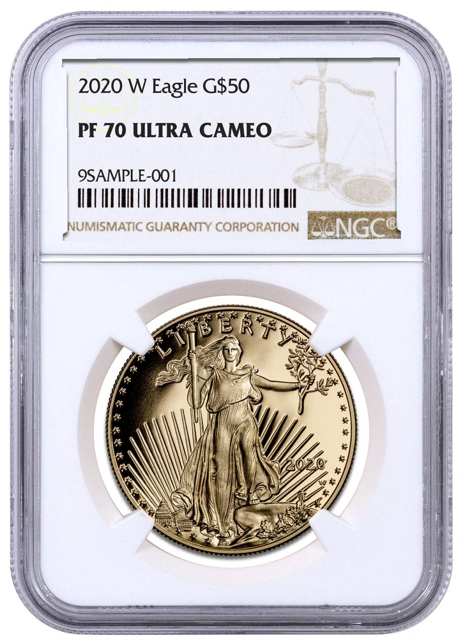 2020-W 1 oz Gold American Eagle Proof $50 Coin NGC PF70 UC Brown Label