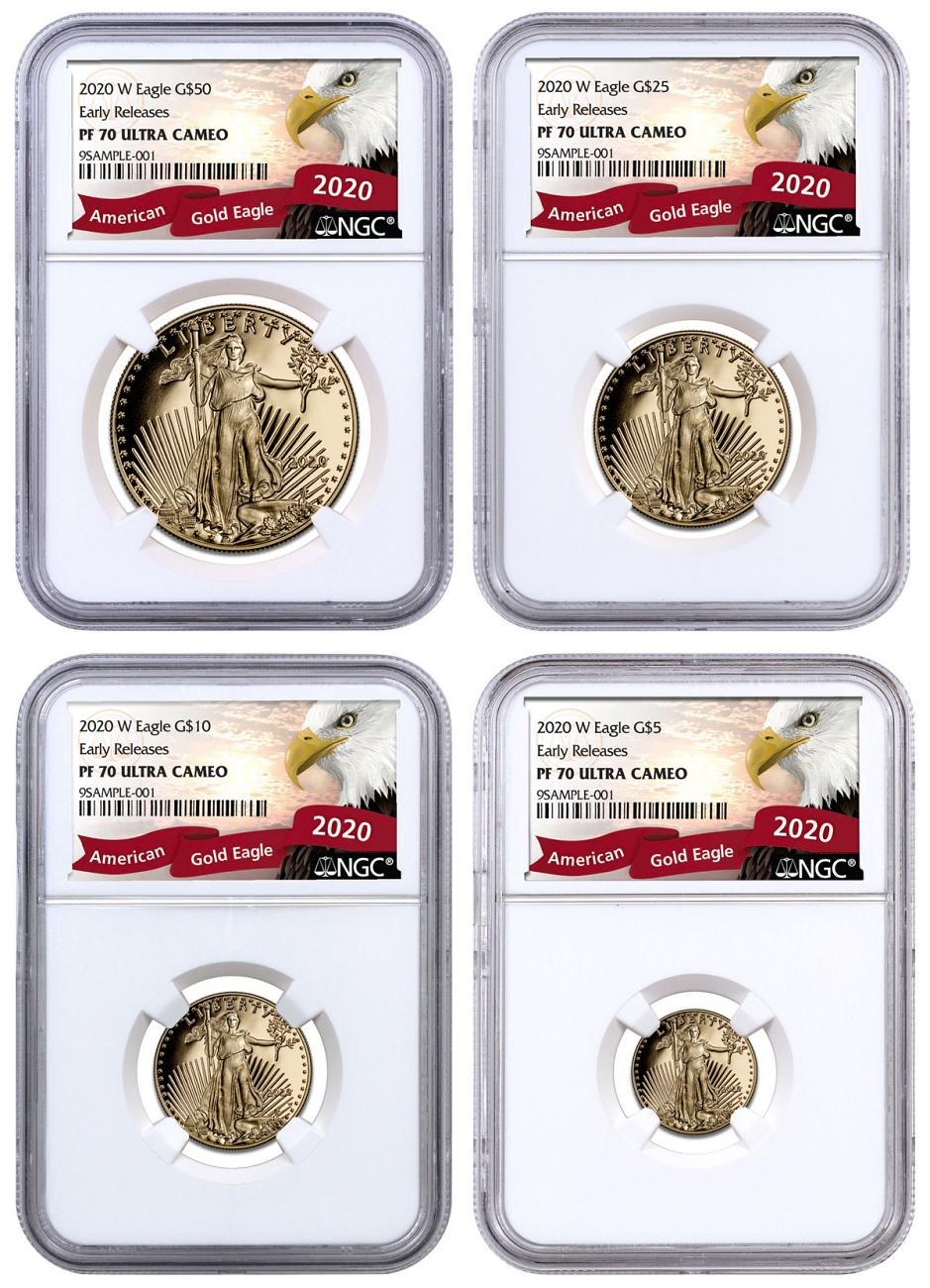 2020-W Gold American Eagle 4-Coin Proof Set NGC PF70 UC ER Exclusive Eagle Label