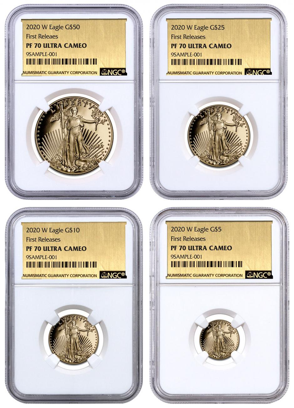 2020-W Gold American Eagle 4-Coin Proof Set NGC PF70 UC FR Exclusive Gold Foil Label