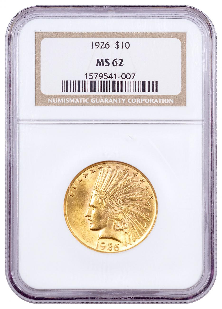 1926 Indian Head With Motto $10 Gold Eagle NGC MS62