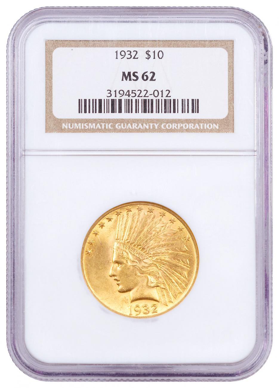 1932 Indian Head $10 Gold Eagle NGC MS62