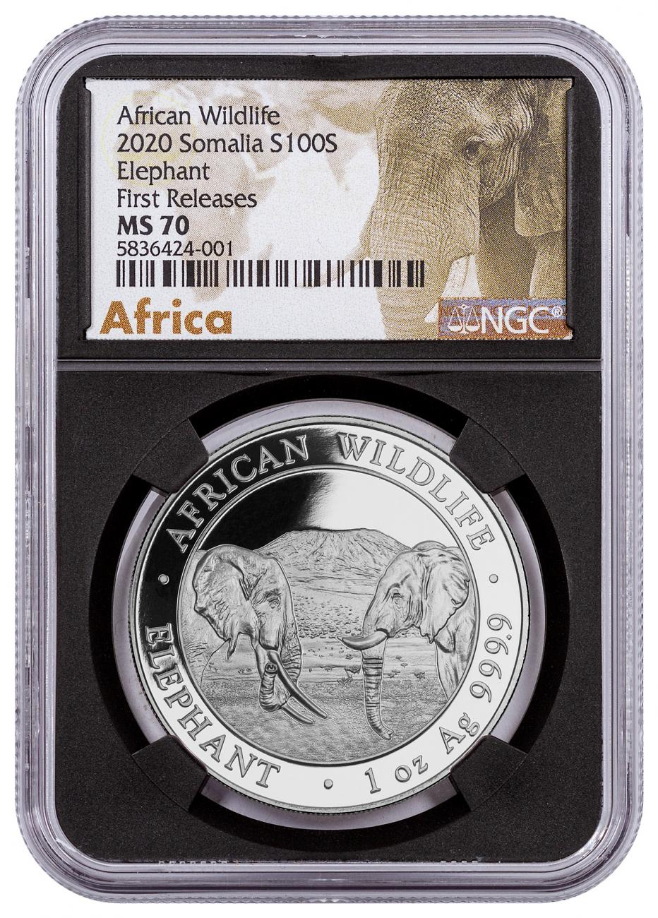 2020 Somalia 1 oz Silver Elephant Sh100 Coin NGC MS70 FR Black Core Holder Exclusive African Elephant Label