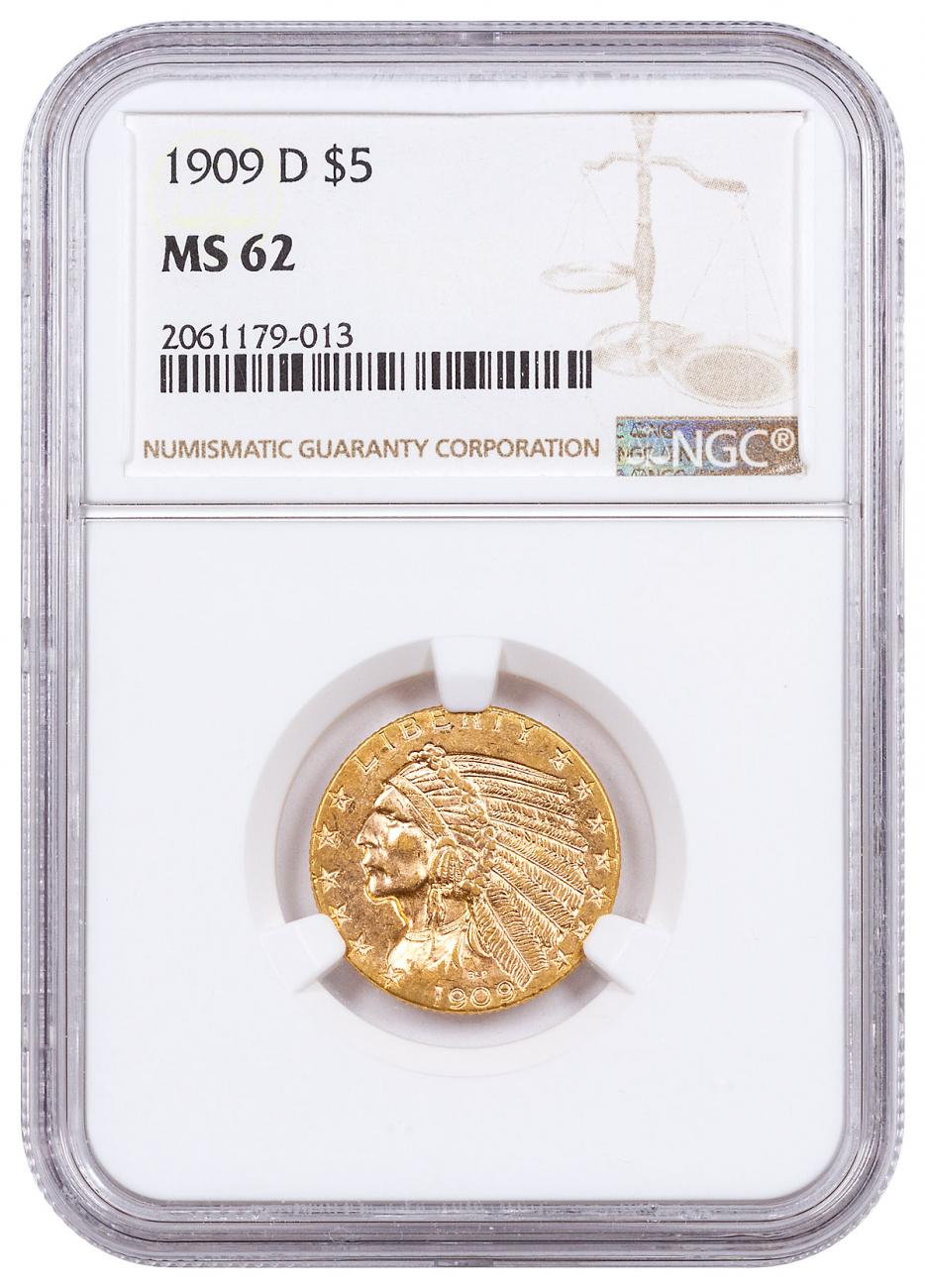 1909-D Indian Head $5 Gold Half Eagle NGC MS62