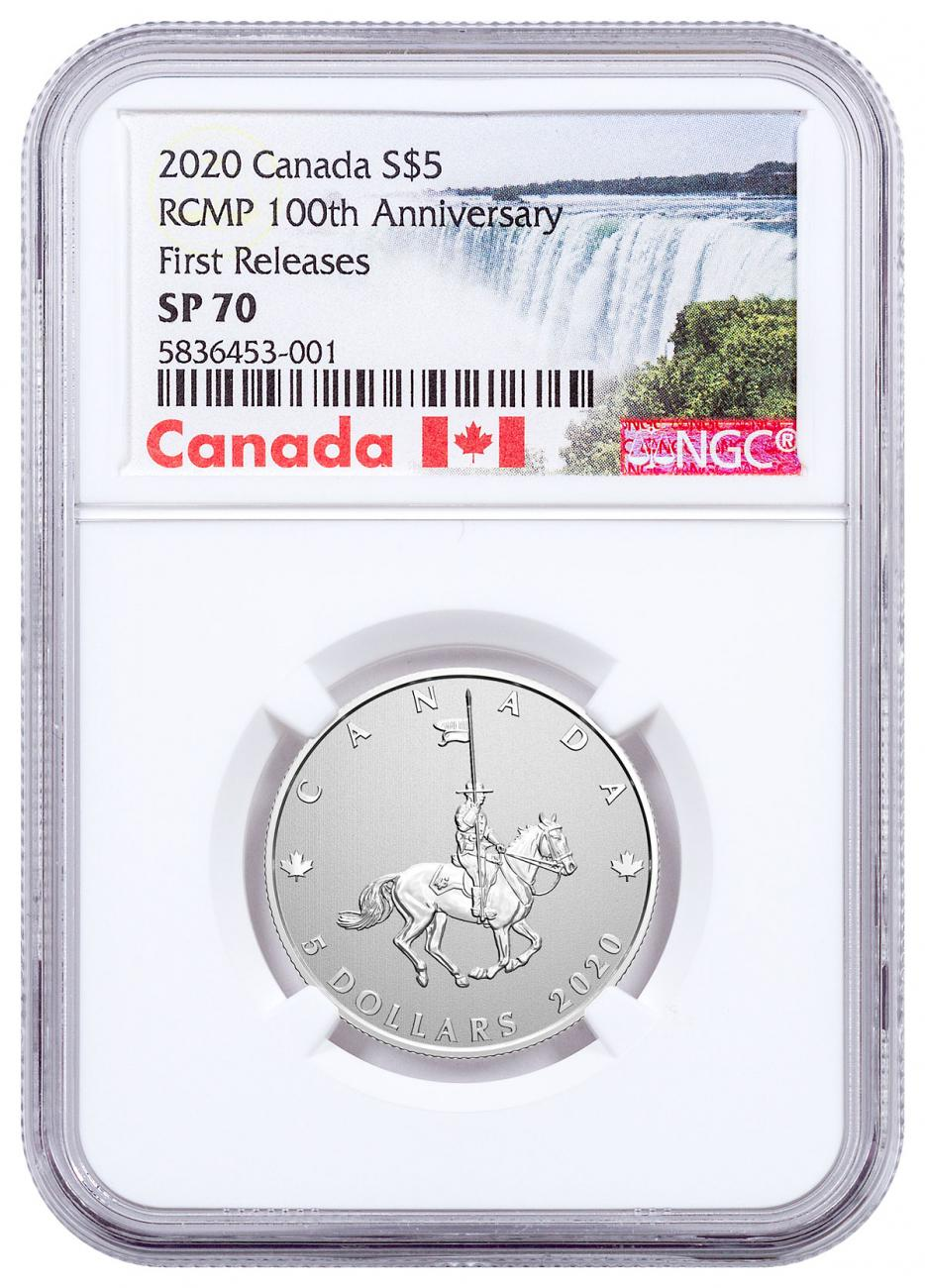 2020 Canada 100th Anniversary of RCMP 1/4 oz Silver Specimen $5 Coin NGC SP70 FR Exclusive Canada Label