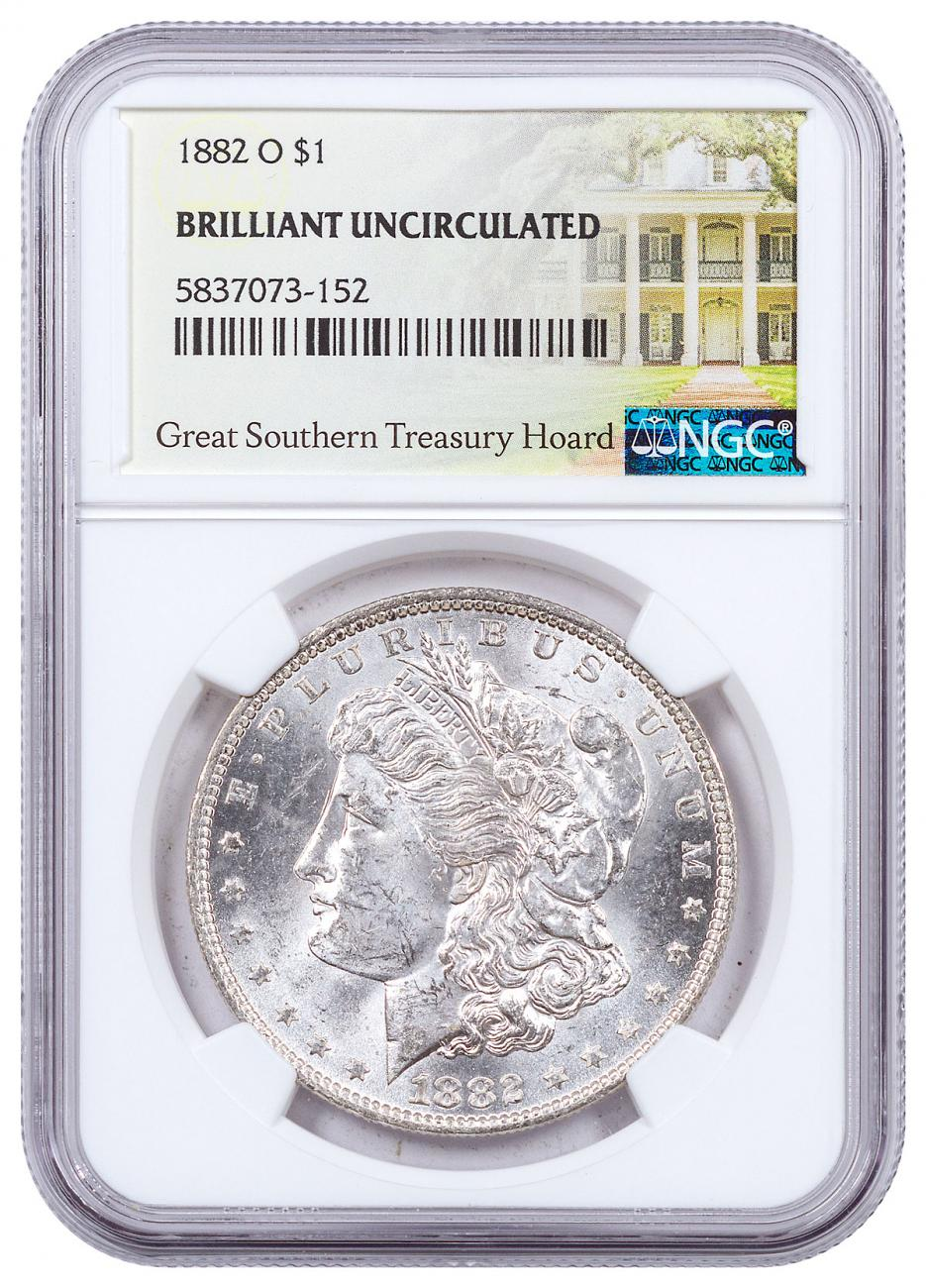 1882-O Morgan Silver Dollar NGC BU Great Southern Hoard Treasury Hoard Label