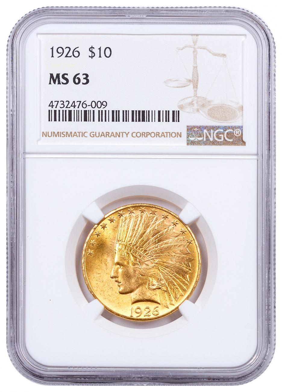 1926 Indian Head With Motto $10 Gold Eagle NGC MS63
