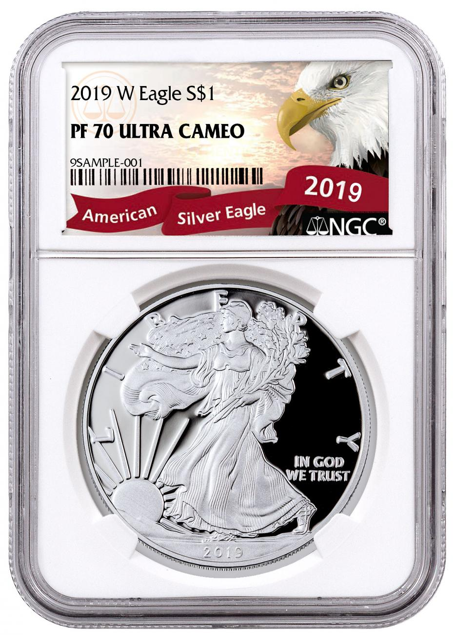 2019-W Proof American Silver Eagle NGC PF70 UC Exclusive Eagle Label