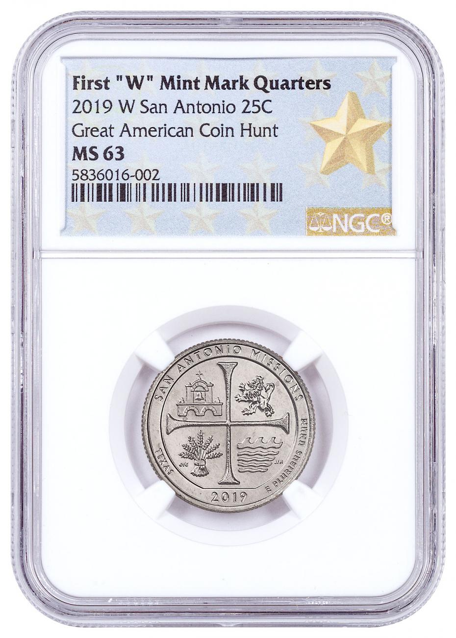 2019-W 25C Clad America the Beautiful San Antonio Missions Historical Park Quarter NGC MS63 West Point Star Label