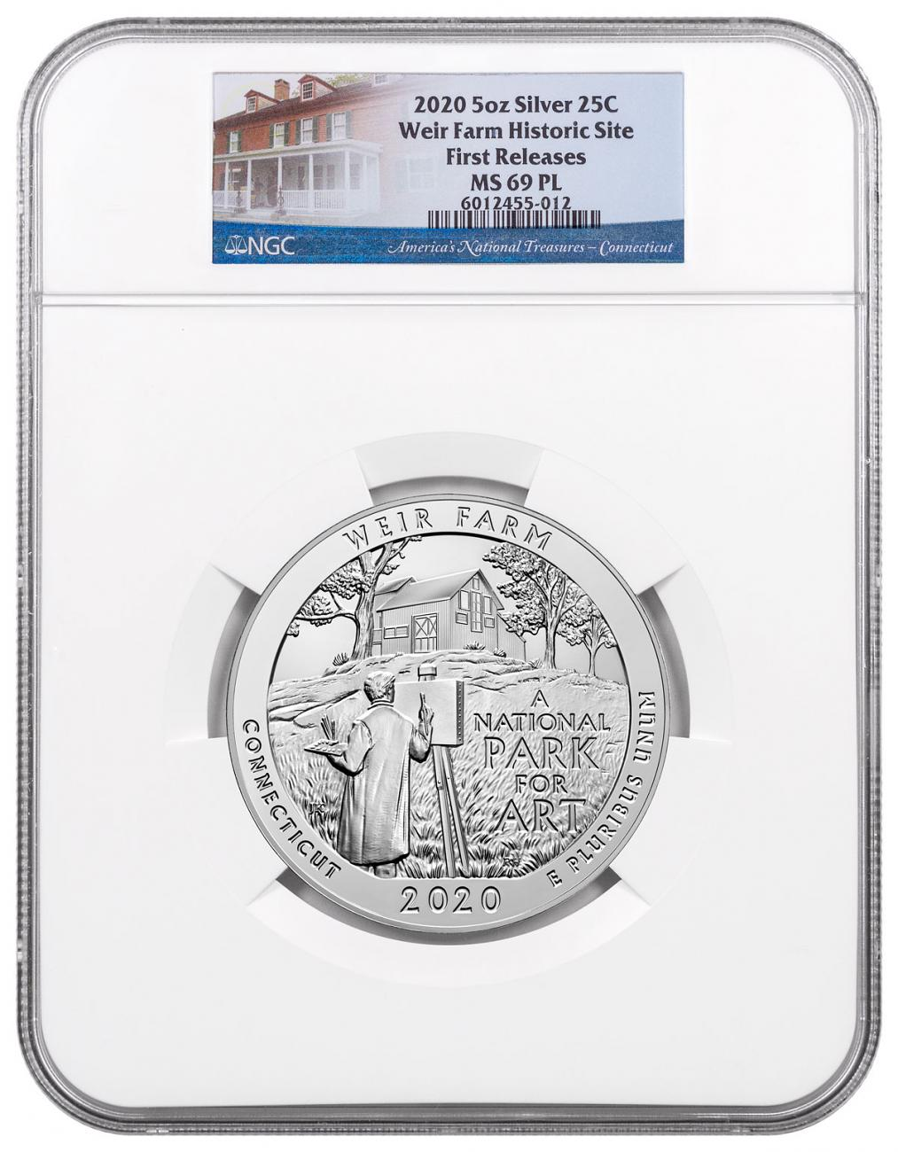 2020 Weir Farm National Historic Site 5 oz. Silver ATB America the Beautiful 25C Coin NGC MS69 PL FR America the Beautiful Label