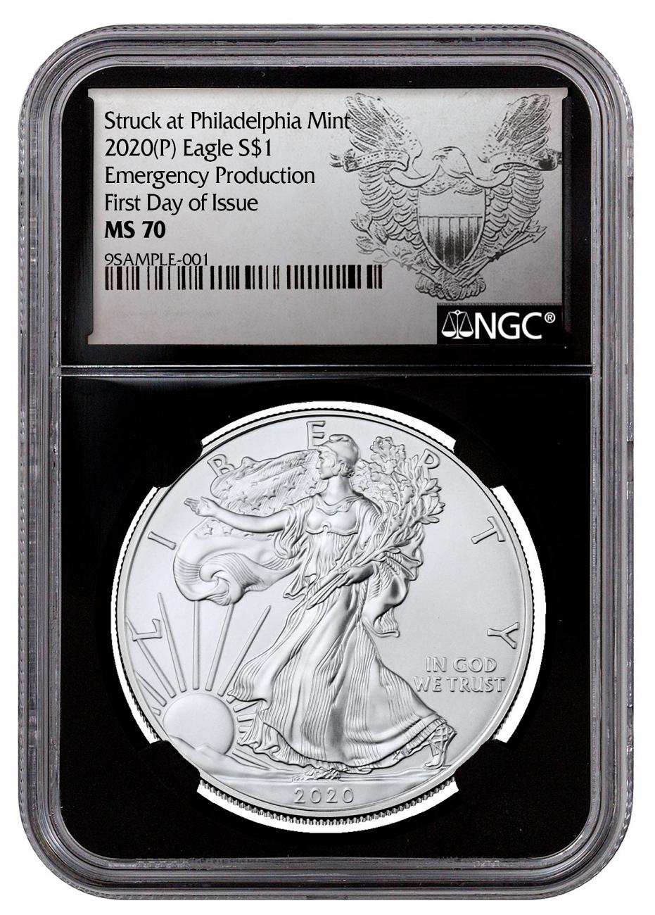 2020-(P) 1 oz Silver American Eagle Struck at Philadelphia $1 Coin NGC MS70 FDI Black Core Holder Exclusive Heraldic Eagle Label