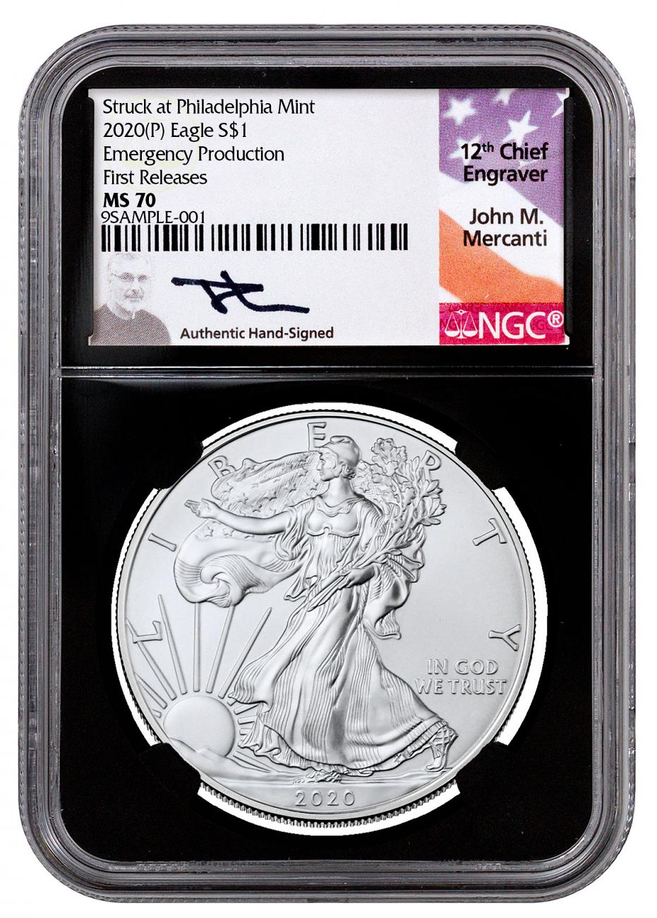 2020-(P) 1 oz Silver American Eagle Struck at Philadelphia $1 Coin Scarce and Unique Coin Division NGC MS70 FR Black Core Holder Mercanti Signed Label
