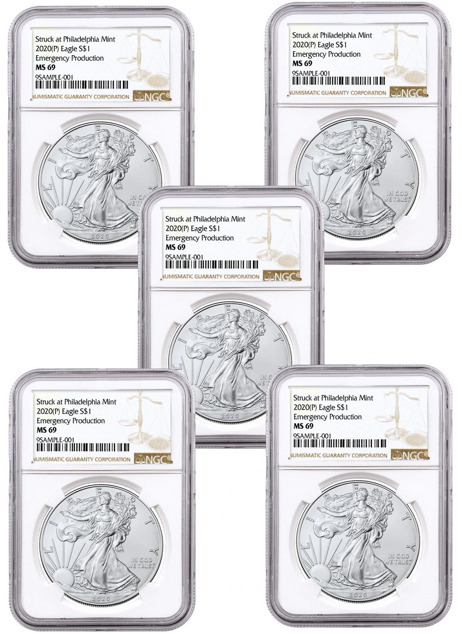 5-Pack - 2020-(P) 1 oz Silver American Eagle Struck at Philadelphia $1 Coins NGC MS69 Brown Label
