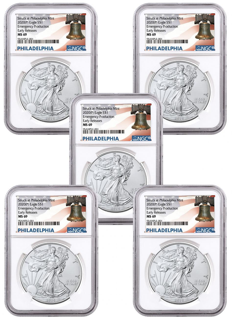 5-Pack - 2020-(P) 1 oz Silver American Eagle Struck at Philadelphia $1 Coins NGC MS69 ER Liberty Bell Label