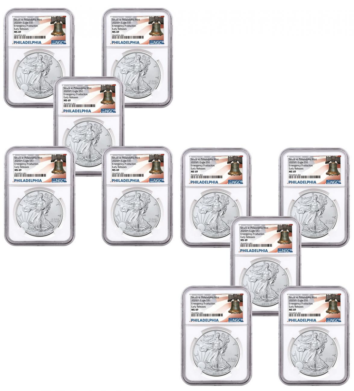 10-Pack - 2020-(P) 1 oz Silver American Eagle Struck at Philadelphia $1 Coins NGC MS69 ER Liberty Bell Label