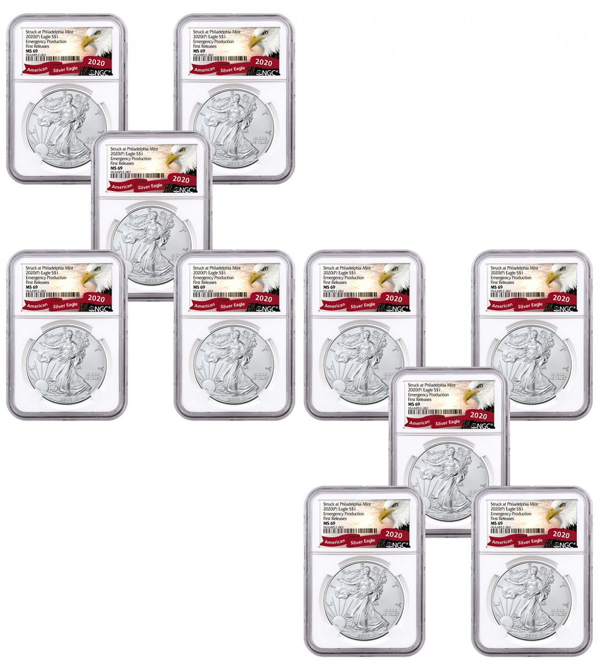10-Pack - 2020-(P) 1 oz Silver American Eagle Struck at Philadelphia $1 Coins NGC MS69 FR Exclusive Eagle Label