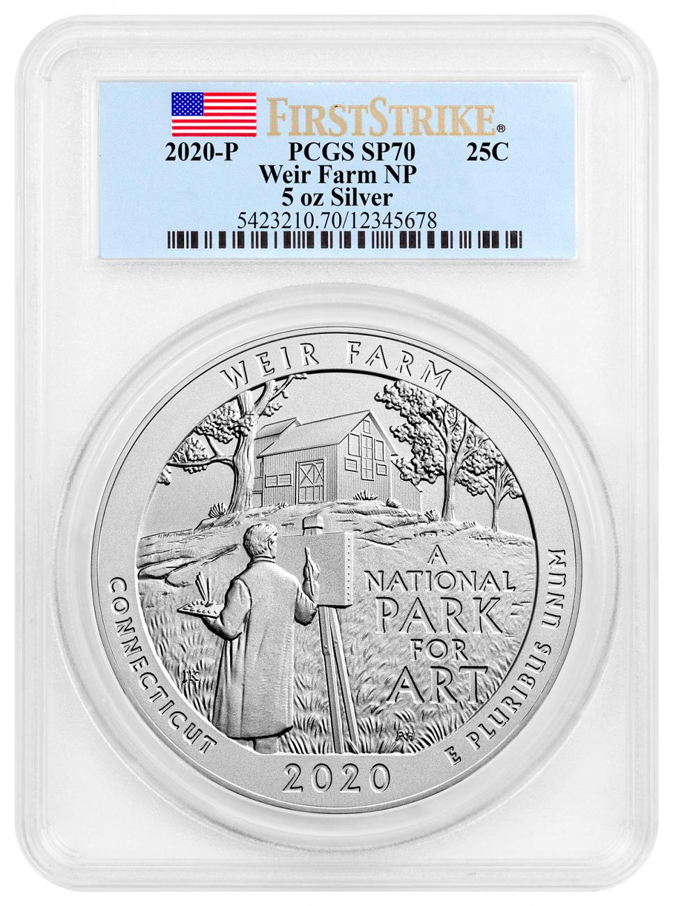 2020-P Weir Farm National Historic Site 5 oz. Silver America the Beautiful Specimen Coin PCGS SP70 FS Flag Label