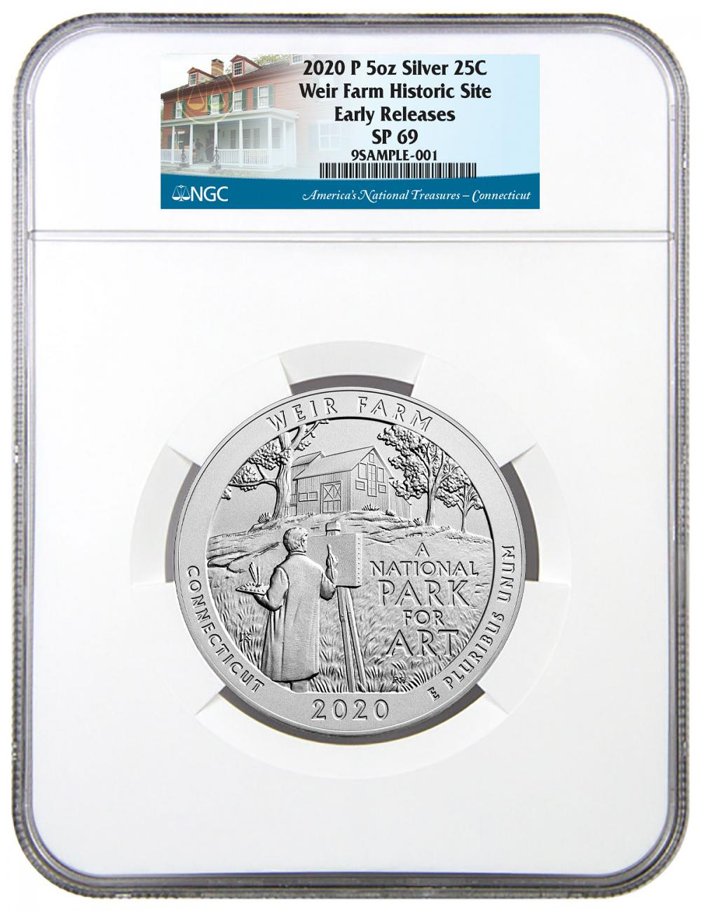 2020-P Weir Farm National Historic Site 5 oz. Silver America the Beautiful Specimen Coin NGC SP69 ER