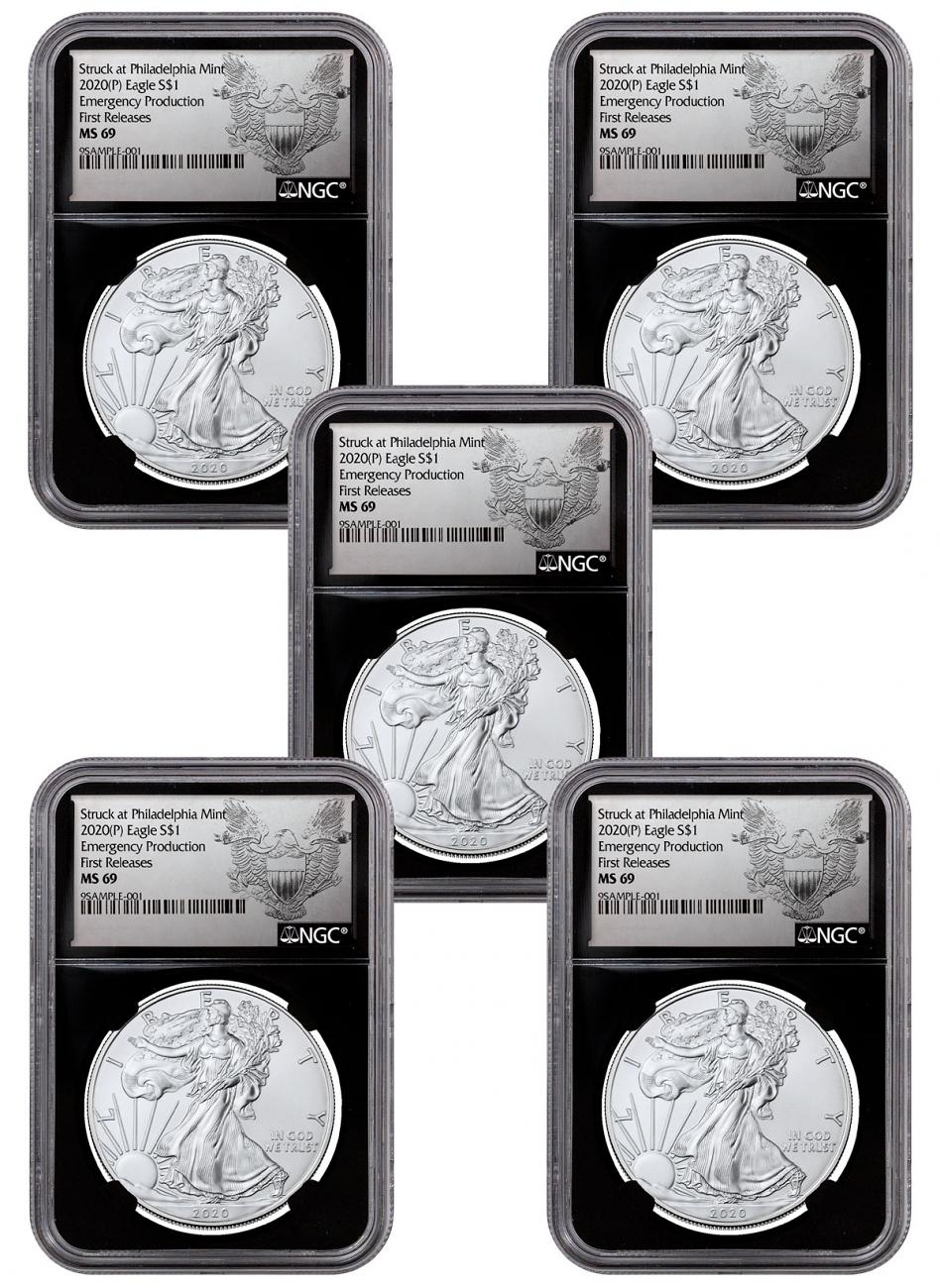 5-Pack - 2020-(P) 1 oz Silver American Eagle Struck at Philadelphia $1 Coins NGC MS69 FR Black Core Holder Exclusive Heraldic Eagle Label
