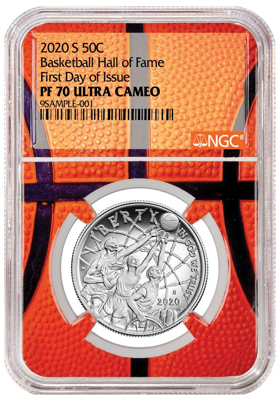2020-S Basketball Hall of Fame Clad Half Dollar Proof Coin NGC PF70 FDI Basketball Core