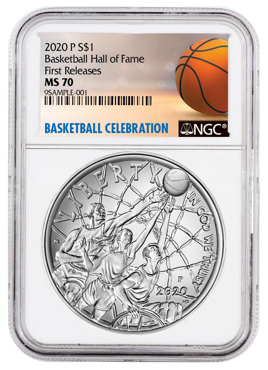 2020-P $1 Basketball Hall of Fame Silver Dollar Coin NGC MS70 FR