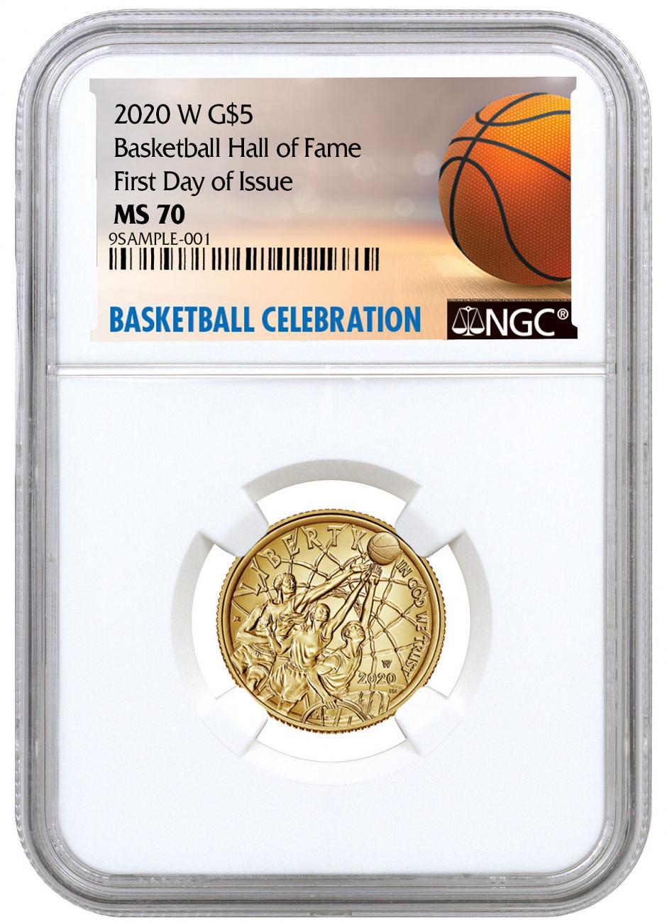 2020-W $5 Basketball Hall of Fame Gold Coin NGC MS70 FDI