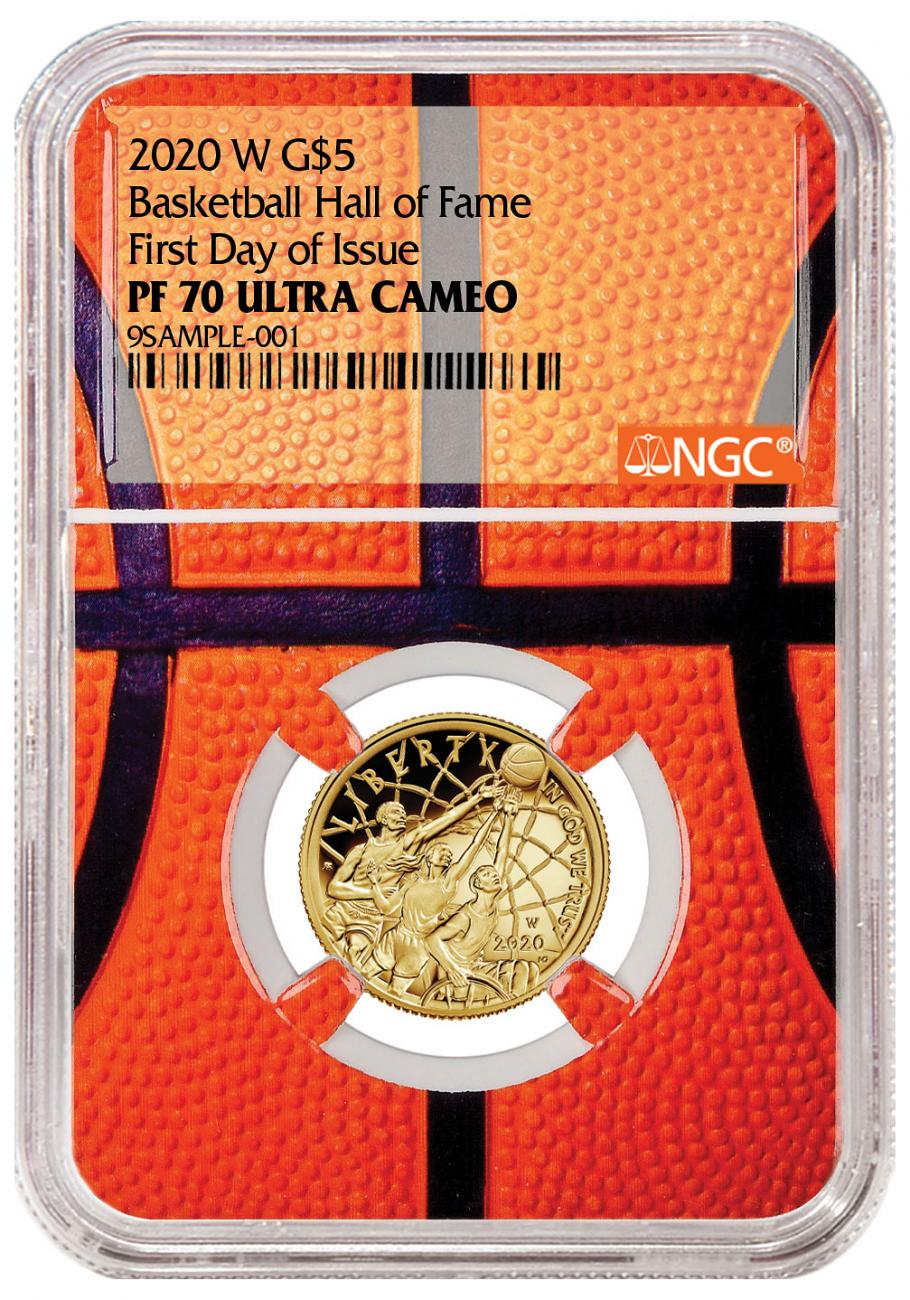 2020-W $5 Basketball Hall of Fame Gold Proof Coin NGC PF70 FDI Basketball Core