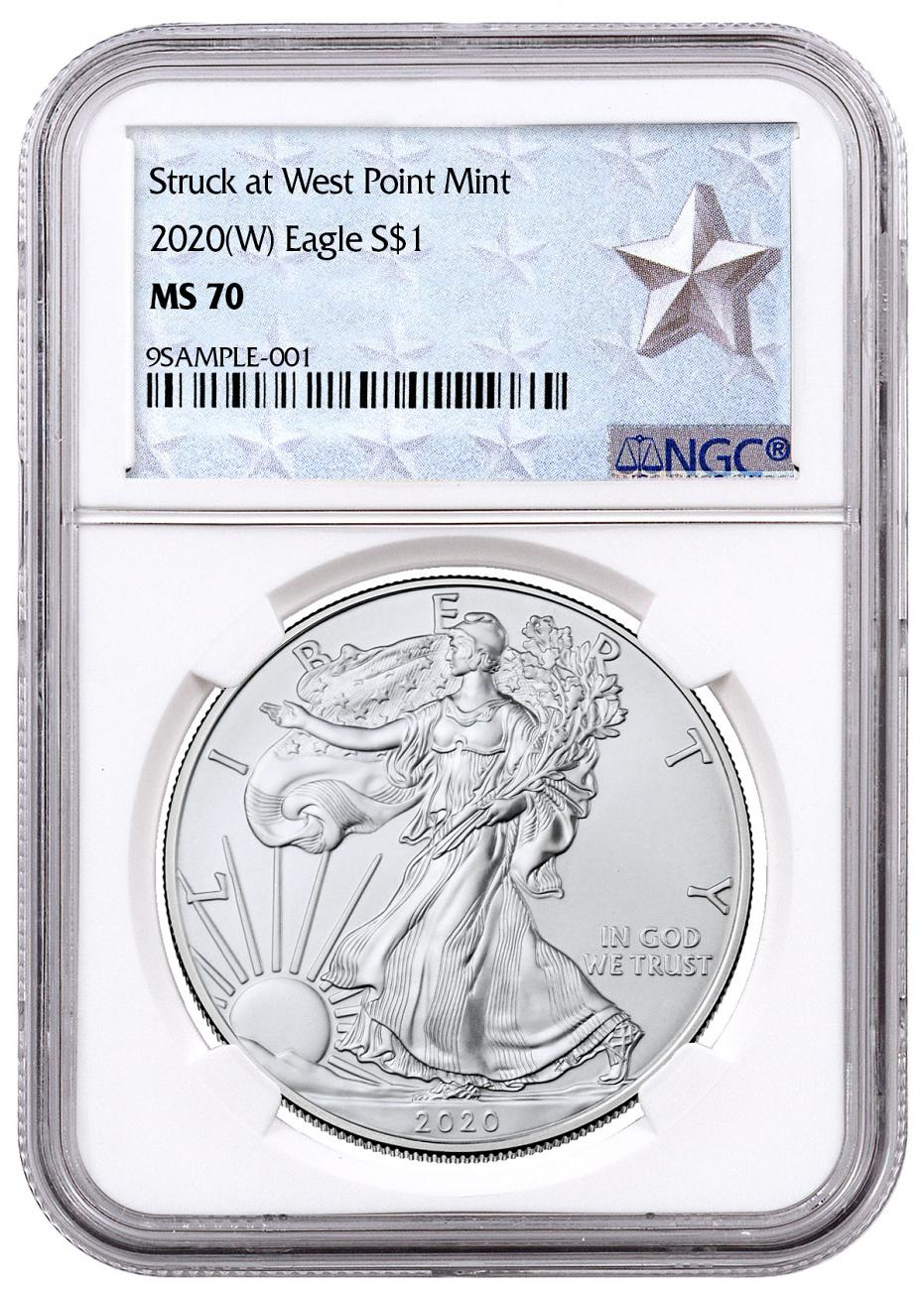 2020-(W) 1 oz Silver American Eagle Struck at West Point Mint NGC MS70 West Point Silver Star Label