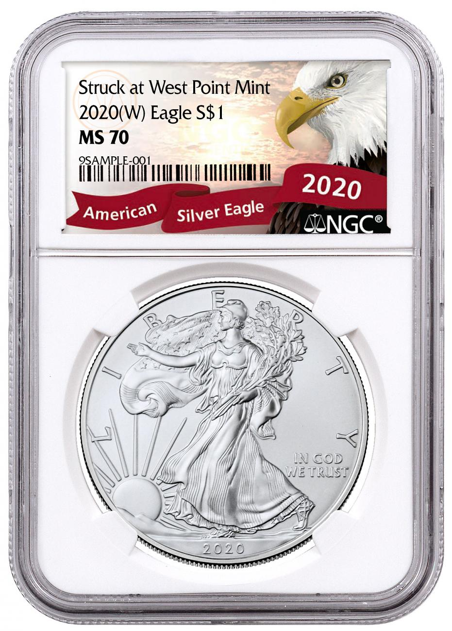 2020-(W) 1 oz Silver American Eagle Struck at West Point Mint NGC MS70 Exclusive Eagle Label