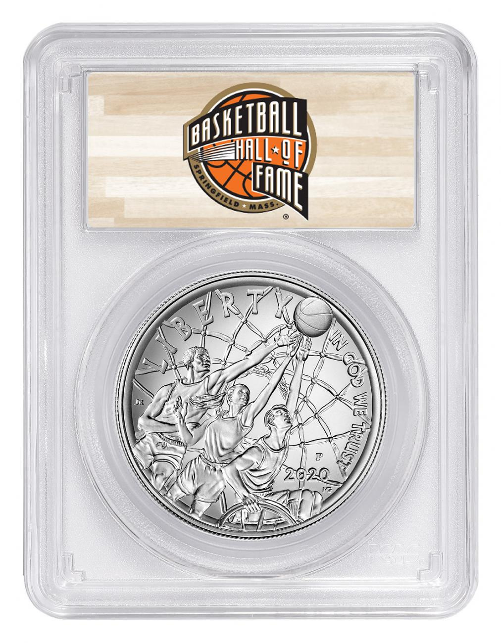 2020-P $1 Basketball Hall of Fame Silver Dollar Coin PCGS MS70 FS Hall of Fame Label