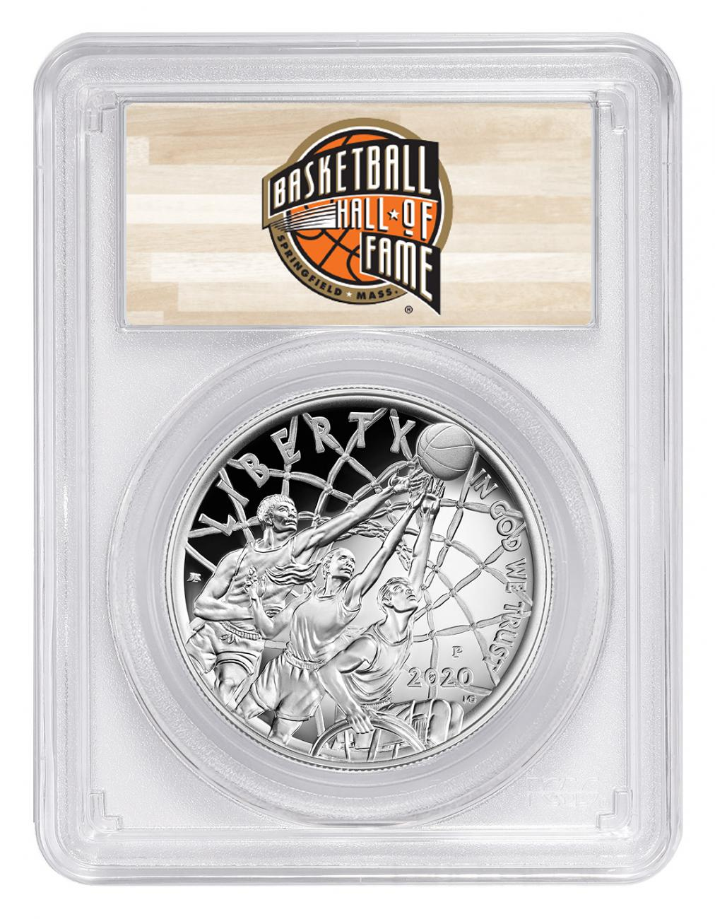 2020-P $1 Basketball Hall of Fame Silver Dollar Proof Coin PCGS PR70 DCAM FS Hall of Fame Label