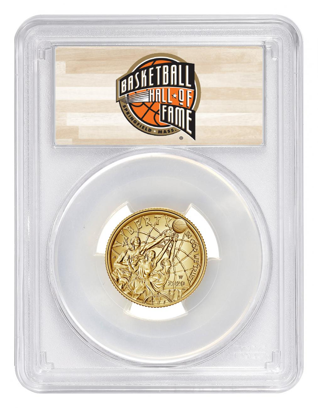 2020-W $5 Basketball Hall of Fame Gold Coin PCGS MS70 FS Hall of Fame Label