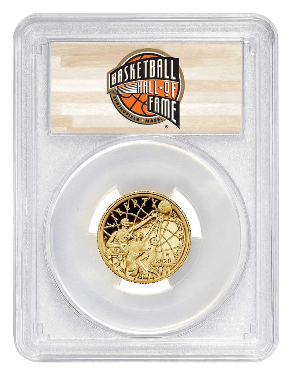 2020-W $5 Basketball Hall of Fame Gold Proof Coin PCGS PR70 DCAM FS Hall of Fame Label