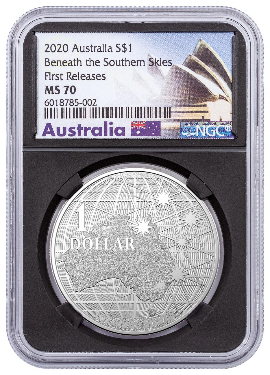 2020 Australia Beneath the Southern Skies 1 oz Silver $1 Coin NGC MS70 FR Black Core Holder Opera House Label