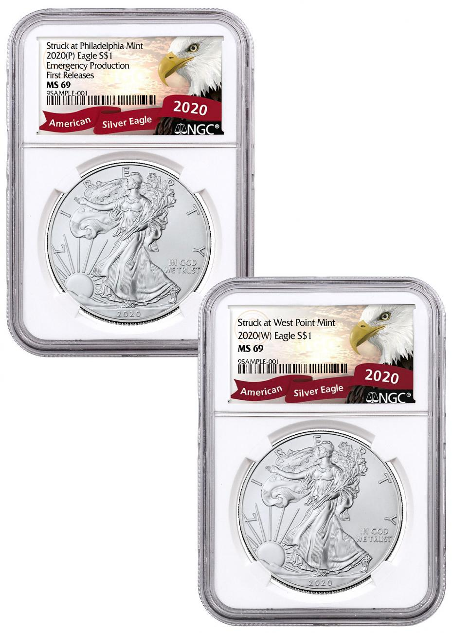 2-Piece Set - 2020-(P)(W) Struck at Philadelphia and West Point Silver Eagle NGC MS69 Exclusive Eagle Label