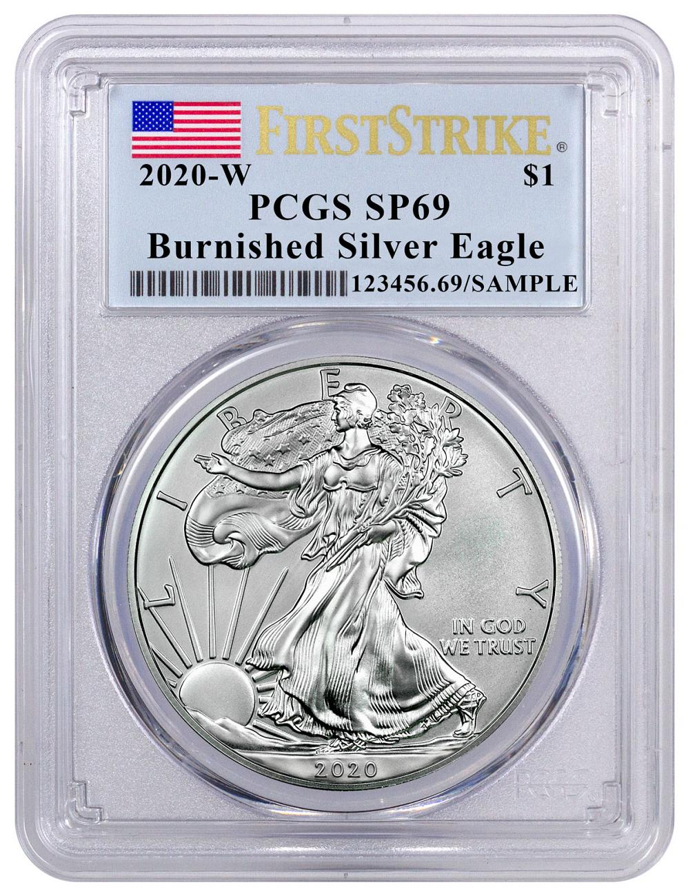 2020-W 1 oz Burnished American Silver Eagle $1 Coin PCGS SP69 FS Flag Label
