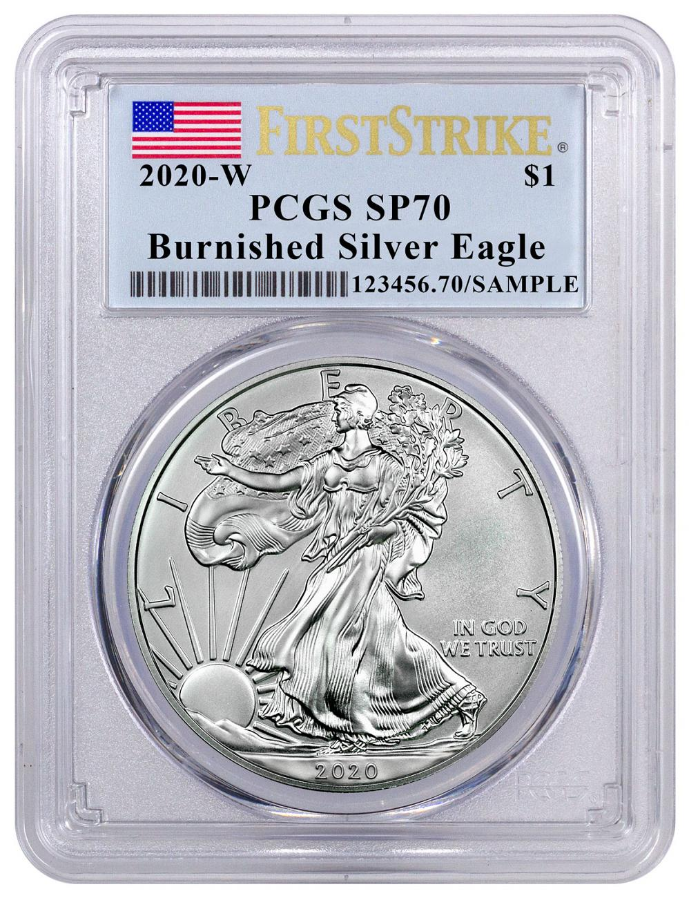 2020-W 1 oz Burnished American Silver Eagle $1 Coin PCGS SP70 FS Flag Label