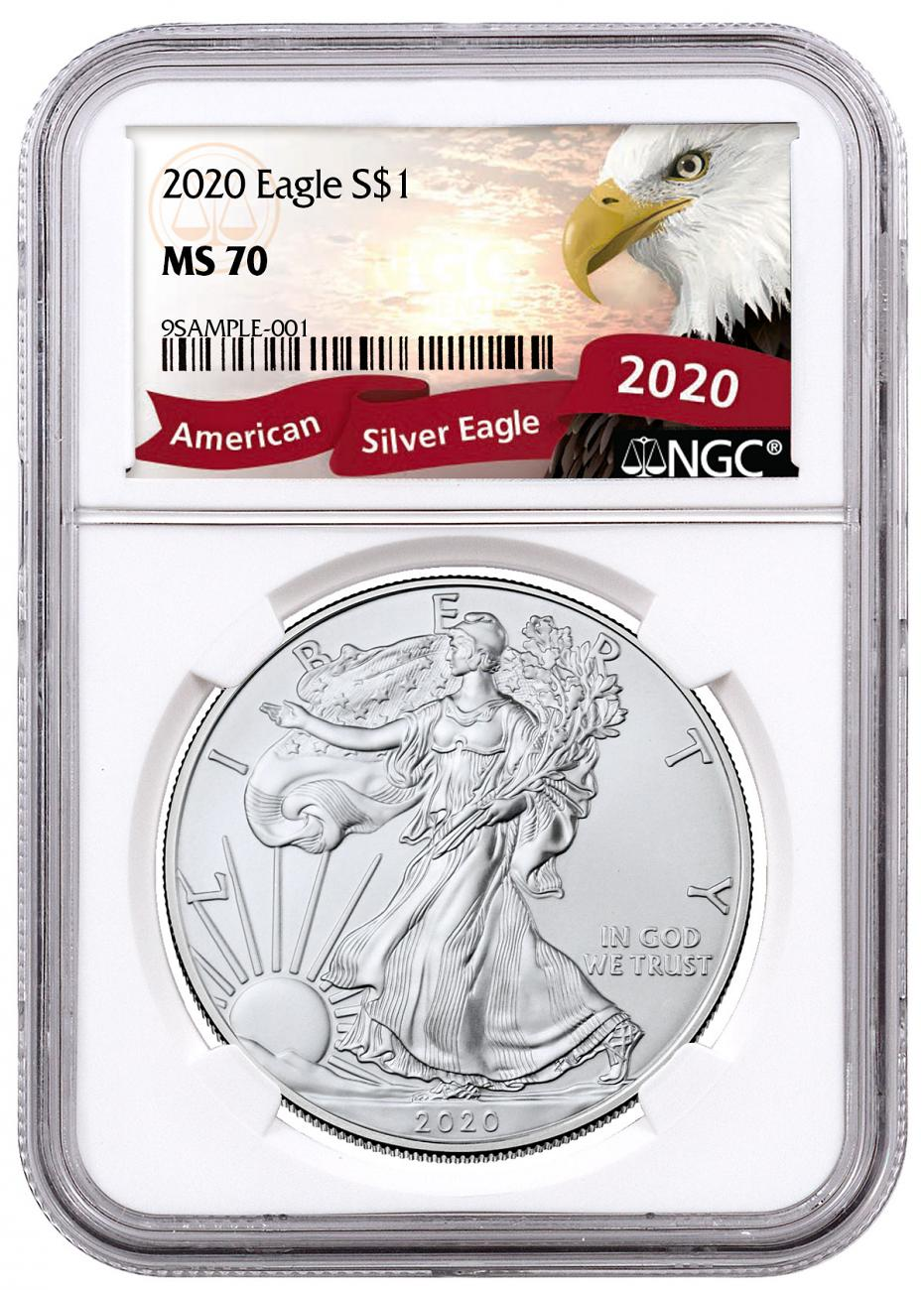 2020 1 oz American Silver Eagle $1 Coin NGC MS70 Exclusive Eagle Label