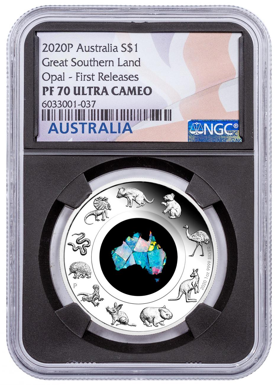 2020-P Australia $1 1 oz Silver Great Southern Land Opal High Relief Proof Coin NGC PF70 UC FR Black Core Holder Australia Flag Label